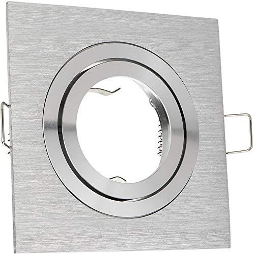 Einbaustrahler Set Aluminium gebürstet optional mit GU5,3 oder GU10 230Volt Fassung, für 50mm LED und Halogenleuchtmittel, sehr edle Optik Deckenlampe (Mit GU5,3 Fassung)