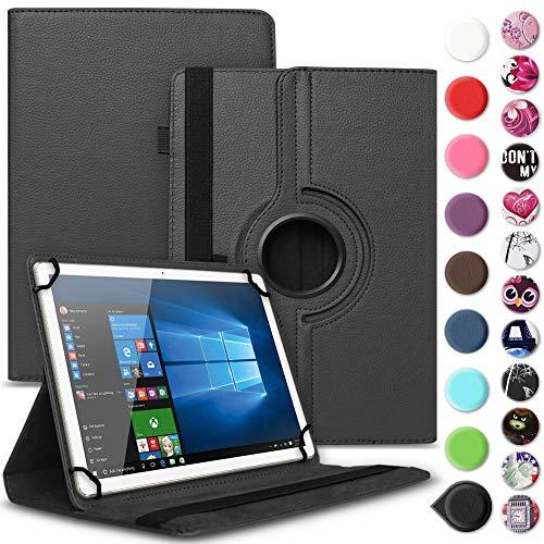 UC-Express Tablet Tasche kompatibel für Wortmann Terra PAD 1004 Universal Schutzhülle aus Kunstleder Hülle Tasche Standfunktion 360° Drehbar Cover Case, Farbe:Schwarz