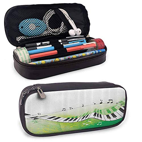MHKG Ledermäppchen Music Decor Leather Pen Case Music Piano Keys Curvy Fingerboard Summertime Entertainment Flourish for School Office Stationary Organization