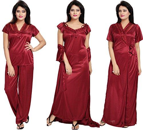 Noty- Women's Satin Nighty, Robe, Top, Night Dress - Set of 4/6 (Maroon, Free Size) (4, Maroon)