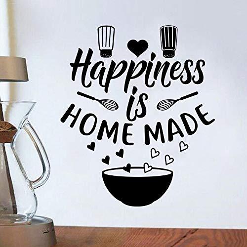 JXMN Pegatinas de Pared de Cocina la Felicidad es calcomanías caseras Restaurante Familiar decoración de la Pared Cuenco Gorro de Chef Pegatinas Amor 84x98cm