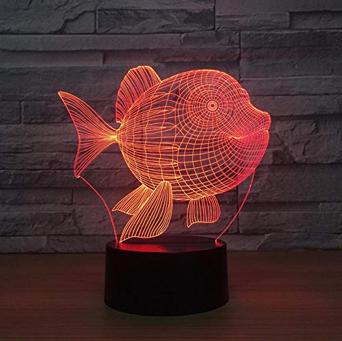 BDFS Bauchfisch Heimelektronik 3d kleine Lampe Schlafzimmer Nachttischlampe bunte Note Nachtlicht USB LED Leuchten Weihnachtsgeschenk