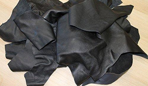 Lederhandel.com Lederreste Bastelleder Lederstücke 1kg schwarz, alle Stücke Mind. DIN A5, zum Basteln und Nähen