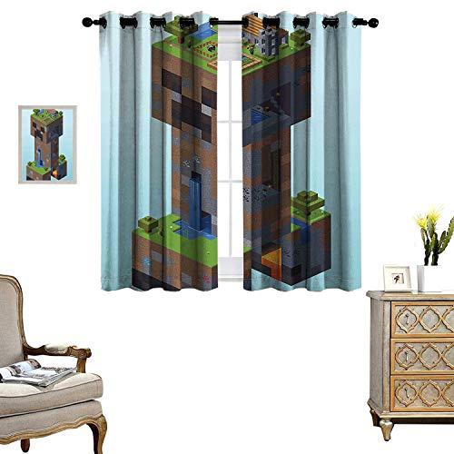 bgment Blackout Curtains for Bedroom Minecraft Creeper Village Bedroom Living Room Kitchen Decoration Set of 2 Panels W55 x L39