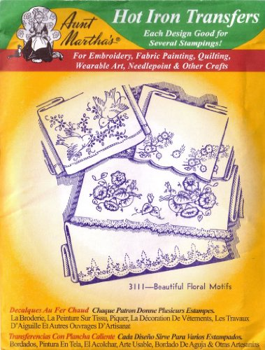 Beautiful Floral Motifs Aunt Martha's Hot Iron Embroidery Transfer