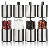 Gewürzmühlen Set 4er mit Keramikmahlwerk | Salz- und Pfeffermühlen aus hochwertigem Edelstahl und Acrylglas | manuell einstellbare Mahlstufen | perfekt für Meersalz, Pfeffer und andere Gewürze