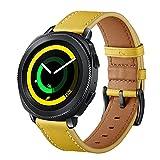 SUNDAREE Compatibile con Cinturino Galaxy Watch 42MM/Active2,Cinturini di Ricambio Vera Pelle Band Orologio Sostituzione Cinghia di Polso per Samsung Galaxy Watch Active2 40 44/Gear Sport(S Yellow)