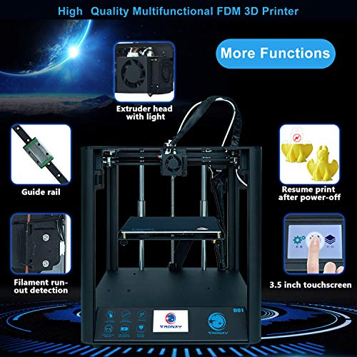 Tidyard D01 High Precision 3D Printer Silent Mainboard Linear Guide Rail Core XY Structure with Acrylic 3.5 Inch Color TouchScreen 220 * 220 * 220mm Build Volume Resume Printing