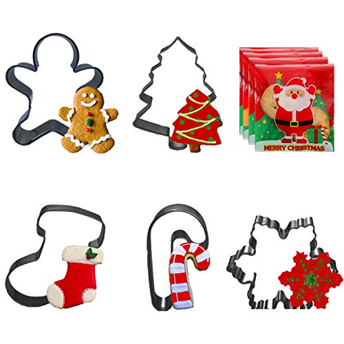 Bonropin 5PCS Christmas Cookie Cutters with 50PCS Cookie Bags - Christmas Tree,Gingerbread Man,Snowflake,Crutch,Sock.