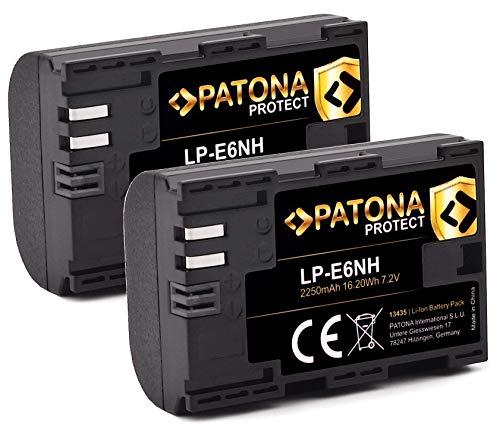 PATONA Protect V1 (2X) LP-E6NH Akku (2250mAh) Qualitätsakku mit NTC-Sensor und V1 Gehäuse - Intelligentes Akkusystem - neueste Generation