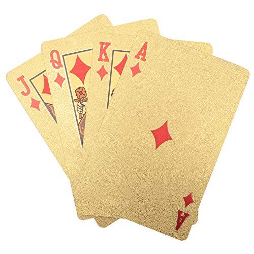 needlid Juegos de Cartas, Cubierta de plástico de lámina Dorada de Textura Suave, Superficie en Relieve Impermeable con una Caja de Almacenamiento Dorada para la Playa para Fiestas