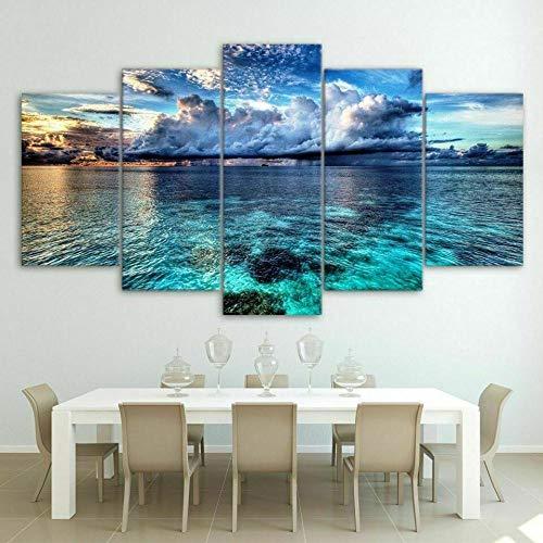 YUANJUN 3D Leinwanddrucke,Modulare Wandkunst Wandaufkleber,5 Teiliges Wandbild,Mit Rahmen,Größe 150 X 80 cm Leinwandbild, Wandbilder XXL Tropische Seelandschaft Sea Beach Blue Ocean Skyrim