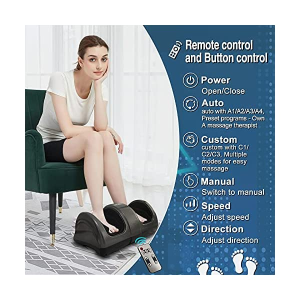 Foot Massager Machine Shiatsu Foot and Calf Massager Plantar Fasciitis Nerve Pain Therapy Electric Deep Kneading Rolling…