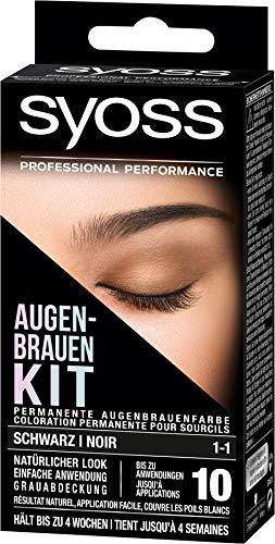 SYOSS Augenbrauen-Kit permanente Augenbrauenfarbe 1-1 Schwarz, natürlicher Look, 1er Pack (1 x 17...