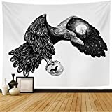 Avnaalvl Tapestry Wall Hanging Crow Tattoo Raven Ornamental Full Moon On Wing Ink Animals Wildlife Vintage Wolf Ball Beak Bird Tapestry Wall Art for Dorm Decoration 80 x 60 Inches