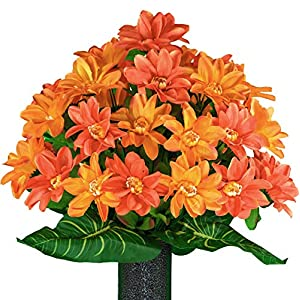 Sympathy Silks Artificial Cemetery Flowers – Realistic – Outdoor Grave Decorations – Non-Bleed Colors, and Easy Fit – Sunrise Orange Dahlia Bouquet