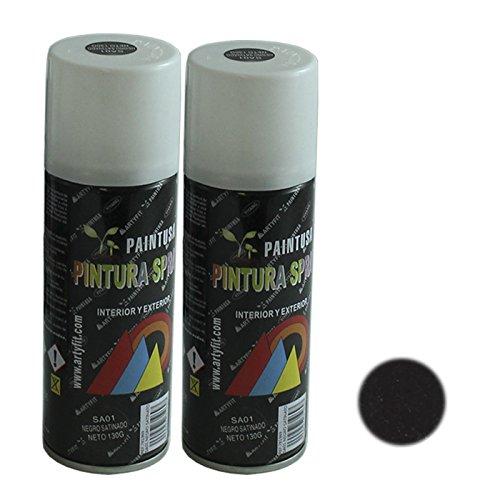 Paintusa - Pack de 2 botes de pintura en spray Negro Satinado SA01 200 ml