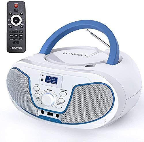 Reproductor de CD portátil Boombox, Dab + Radio FM Sistema estéreo Bluetooth, Reproducción de MP3, Entrada USB, Entrada de Audio, Conector para Auriculares (Blanco + Azul)
