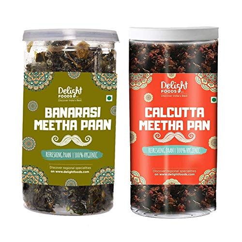 Delight Foods Mukhwas Banarasi Meetha Paan (Without Supari & Areca Nut) (Calcutta Paan 100g + Banarasi Paan 100g)