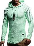 Leif Nelson Herren Kapuzenpullover Slim Fit Baumwolle-Anteil Moderner weißer Herren Hoodie-Sweatshirt-Pulli Langarm Herren schwarzer Pullover-Shirt mit Kapuze LN8128 Mint Medium