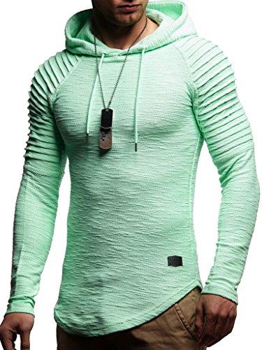 Leif Nelson Herren Kapuzenpullover Slim Fit Baumwolle-Anteil Moderner weißer Herren Hoodie-Sweatshirt-Pulli Langarm Herren schwarzer Pullover-Shirt mit Kapuze LN8128 Mint X-Large