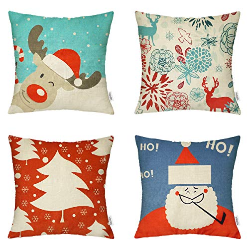 HIPPIH Christmas Pillow Covers 18x18 Inch, 4 Pack Decorative Linen Throw Pillow Cover with The Pattern of Reindeer, Santa Claus, Christmas Tree & Deer for Livingroom Bedroom Car
