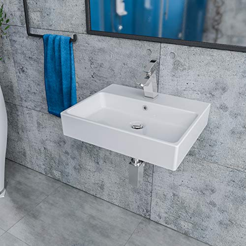 KERABAD Handwaschbecken zur Wandmontage - Keramik Waschbecken eckig - Farbe: Weiß Breite: 50 cm