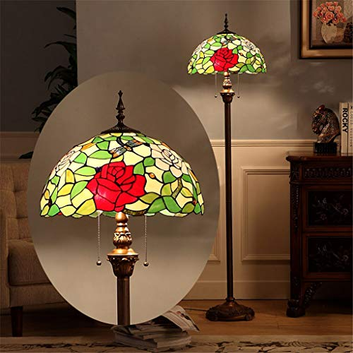 Vloerlamp Tiffany 16 inch staande lamp Stained staande lamp staande lamp staande lamp staande lamp staande lamp staande lamp met rode rozen vintage creatief