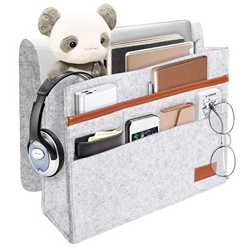 ionlyou Bedside Storage Pocket, Felt Bedside Hanging Storage Organizer Bag Anti-Slip, Sorting Magazine, Tablet, ipad,Phone, Earphone, Remote, Glasses, Pen