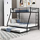 P PURLOVE Twin Over Full Bunk Bed Metal Bunk Bed, Bunk Bed with Twin Size Trundle, Two-Side Ladders for Living Room Bedroom Guest Room,Black Trunde Bunkbed