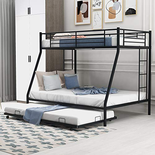 Merax Metal Bunk Bed with Trundle, Twin Over Full Bunk Bed with Safety Guard Rails for Kids Teens Adults No Box Spring Required, Black