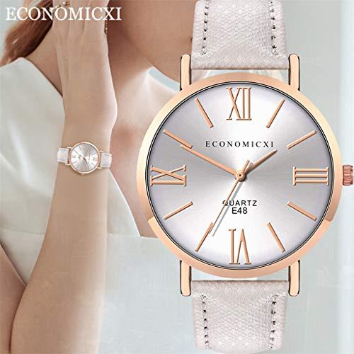 Uhr Armbanduhren Männer Damenuhren Hansee Mode Damen Lederarmband Uhren Quarz Analog Runde Armbanduhr Watch Herrenuhr(D)