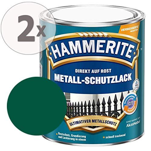 Hammerite Metall-Schutzlack matt Grundierung Rostschutz dunkelgrün Sparpaket, 2 x 750 ml