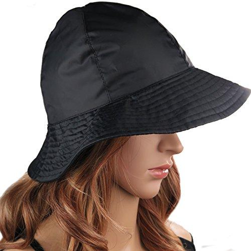 Women/'s Rain Protective Waterproof Hat Packable Adjustable Brown