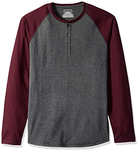 Amazon Essentials, Herren-Henley-Langarmshirt, normale Passform, Charcoal Heather/Burgundy, US S (EU S)