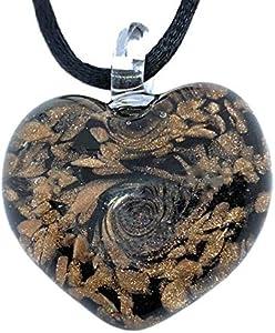 Colgante de corazón de cristal de Murano, joyería de cristal de Murano, colgante de corazón de cristal soplado, incluye caja de regalo y certificado de autenticidad