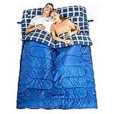 Hewolf Saco de Dormir Doble Invierno Cálido para 2 Personas Adultos Doble Sacos de Dormir Rectangulares para Acampar Camping con Saco de Compresión - Azul 3.2KG para Otoño Invierno