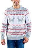 Tipsy Elves Men's Grey Humping Reindeer Sweater - Funny Reindeer Christmas Sweater: XL