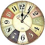 Moderno orologio da parete decorativo in legno, orologio da parete digitale silenzioso in stile retrò marino da 30 cm, per cucina, soggiorno, camera da letto, ufficio (Colore)