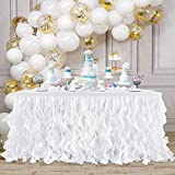 White Tulle Curly Willow Table Skirt for Baby Shower Birthday Gender Reveal Party 6Ft Tutu Table Skirt with Double Layer Organza for 1st Birthday Bridal Wedding Decoration