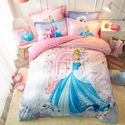 Bxnthd Cartoon princess girl Bedding Set,3 Piece Kids Bedding Cartoon 3D Duvet Covers,Soft and Breathable for Girls (Single size 135 x 200 cm ), Children's bedding