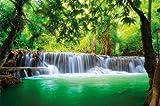GREAT ART XXL Póster – Cascada De Feng Shui – Mural Decoración Naturaleza Selva Paisaje Paraíso Vacaciones Tailandia Asia Bienestar SPA Cartel De La Pared Y Foto Decoración (140 X 100 Cm)