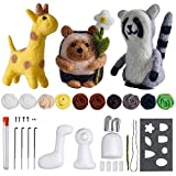 Needle Felting Beginner kit - Wool for Felting Cute Animals Kit Instruction Arts and Crats Easy Funny Family Project Included 3 in 1 Giraffe Racoon Hedgehog Needle Felting Starter