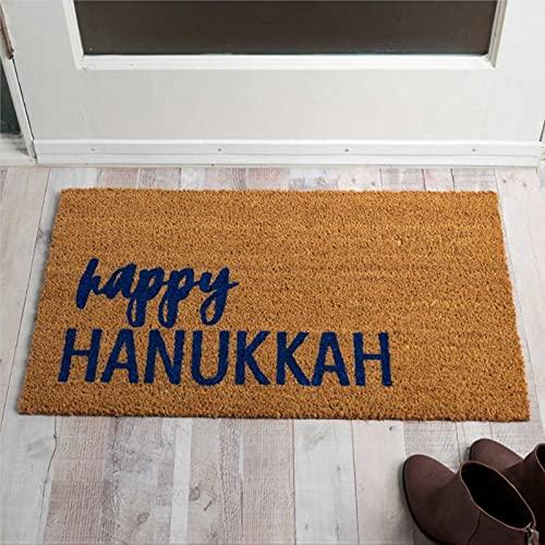 Kiss Cervical Hanukkah Doormat Holiday Rug Chanukah Welcome Mat Front Porch Decor Winter Porch Decor Happy Hanukkah Door Mat Welcome Mat Doormat Entrance Coir Mat Housewarming Gift 16x24 inch hc338