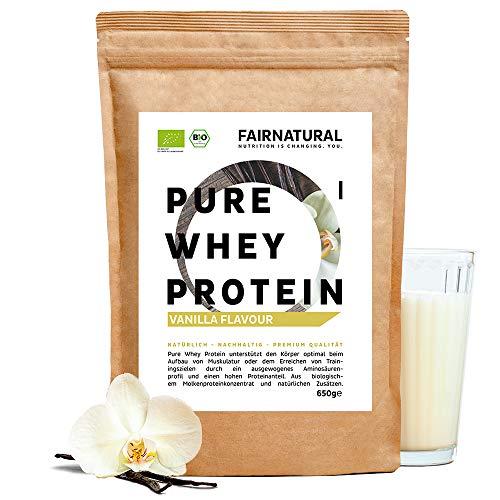 BIO Whey Protein-Pulver Vanille [aus Deutschland] ohne Soja - Hochwertige Bio Eiweiß-Shakes » Bio-zertifiziert « 650g Bio Eiweiß-Pulver aus Premium Molkenprotein-Pulver