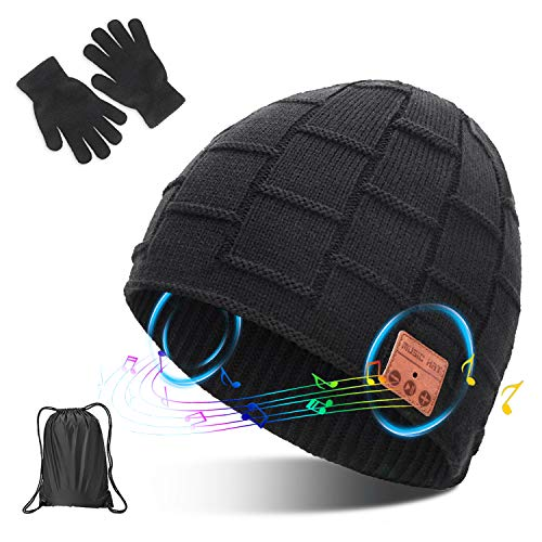 Bluetooth Beanie Hat V5.0 Wireless Headset Music Winter Hat, Build-in 2 HD Stereo Speakers & Mic, Fits for Outdoor Sports, Christmas Birthday Gifts for Men Women Dad Mom Girls Boys,Grey