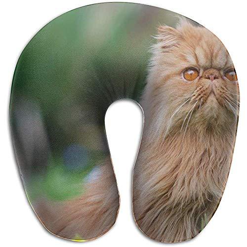 Gatto Persiano Furry Kitten a Forma di U Neck Schiuma Memory, federa cuscino da viaggio, traspirante morbido confortevole regolabile