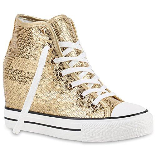 stiefelparadies Damen Sneakers Keilabsatz Sneaker-Wedges Pailletten Schuhe 139900 Gold 38 Flandell