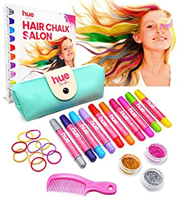 HueLondon 25-Piece Girl's Hair Chalk Color Salon Set - Gifts for Teenage Girls, Preteen, Kids - Birthday Gift Ideas - Temporary/Washable Coloring Dye & Styling Accessories - For Ages 3 Years Old & Up