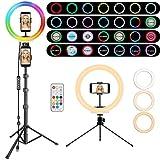 RGB Anillo de Luz LED, MICCYE Luz de Anillo LED con Trípode para Movil con 12 Colores RGB + 28 Modes + 10 Niveles de Brillo para TIK Tok Live Selfie Vlog Youtube